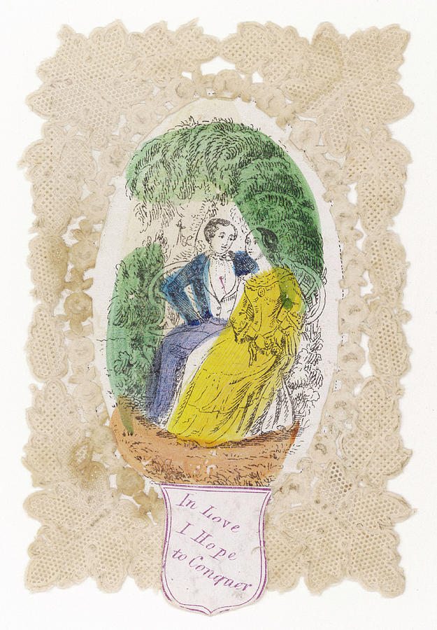 Valentine Drawing - in Love I Hope To Conquer A Couple by Mary Evans Picture Library