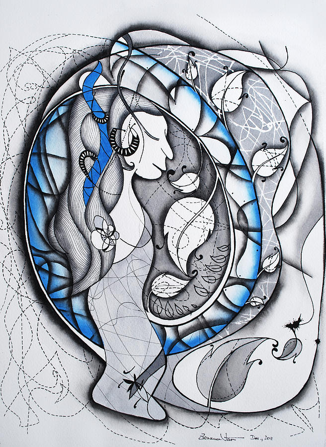 Abstract Female Figure Painting - In Memory Of Blue Woman by Zuzana Vass