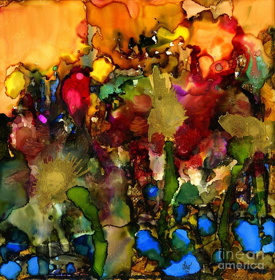 Ink Painting - In My Sisters Garden by Angela L Walker