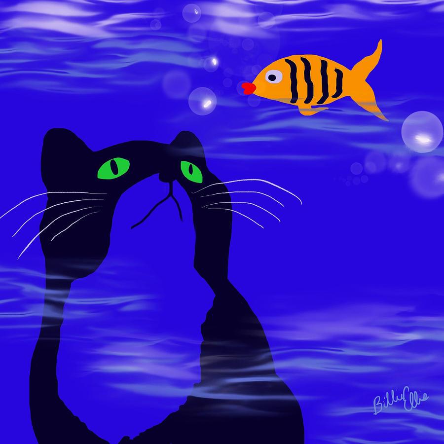 Cat Digital Art - In or Out? by Billie Jo Ellis