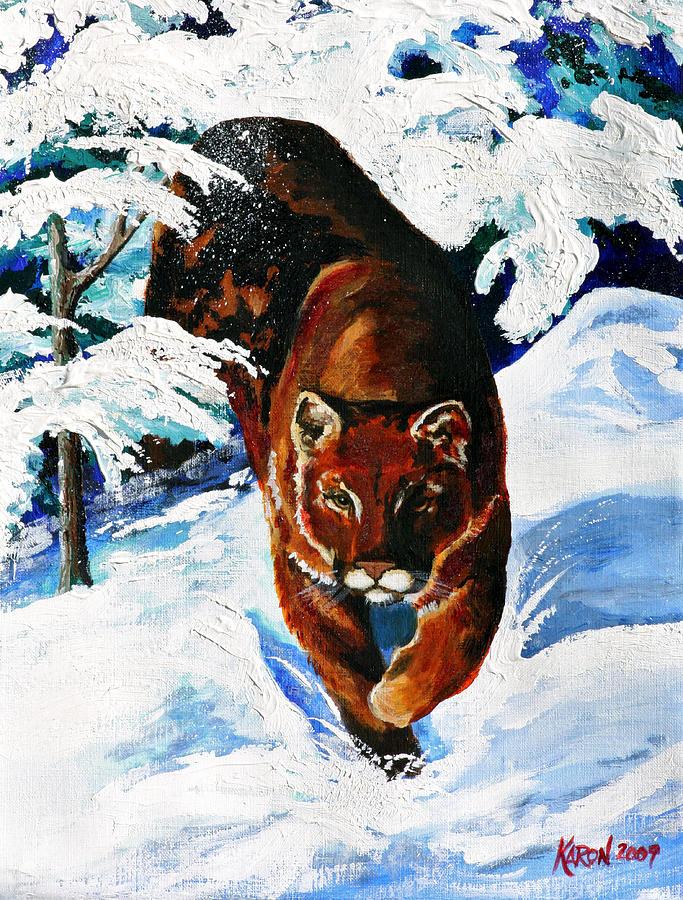 Mountain Lion Painting - In Pursuit by Karon Melillo DeVega