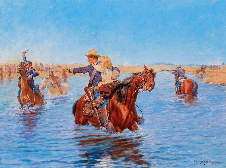 Charles Schreyvogel Painting - In Safe Hands by Charles Schreyvogel