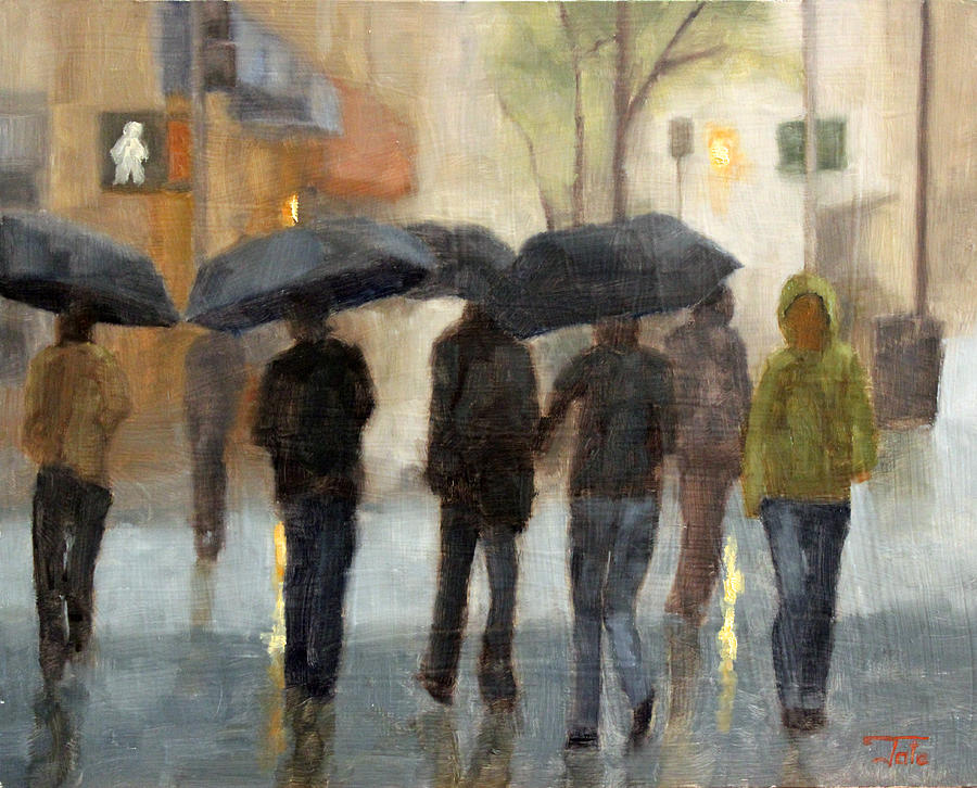 Cityscape Painting - In spite of rain by Tate Hamilton