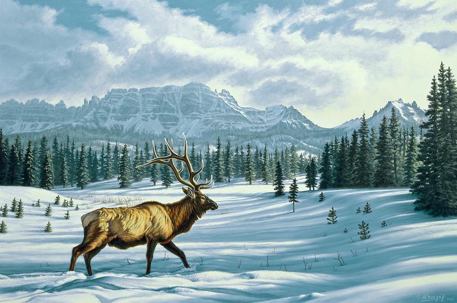 Landscape Painting - In The Absarokas - Elk by Paul Krapf