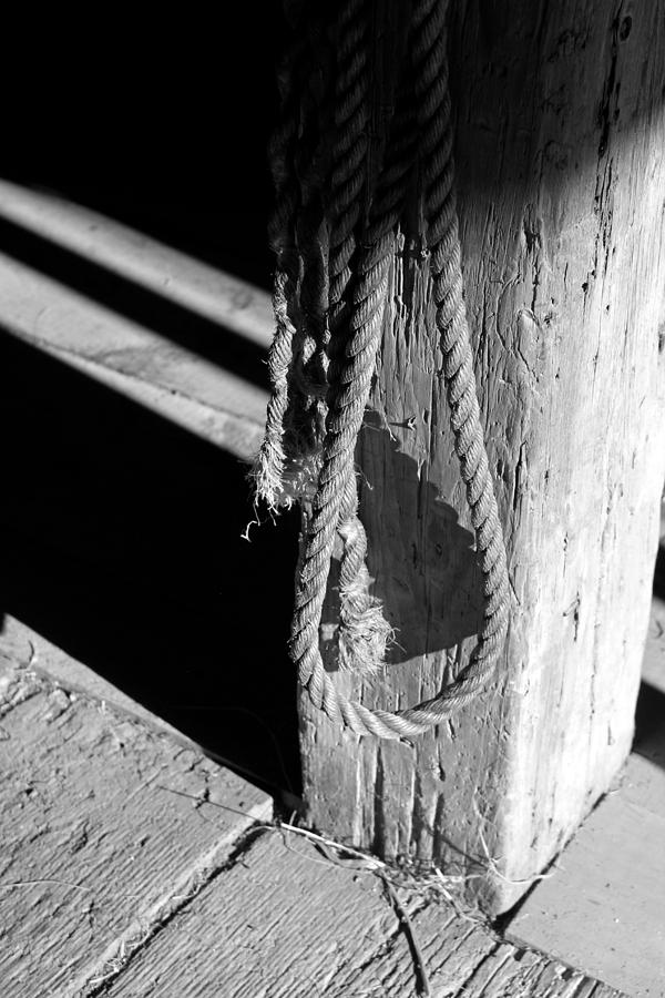 Rope Photograph - In The Barn Bw by Mary Bedy