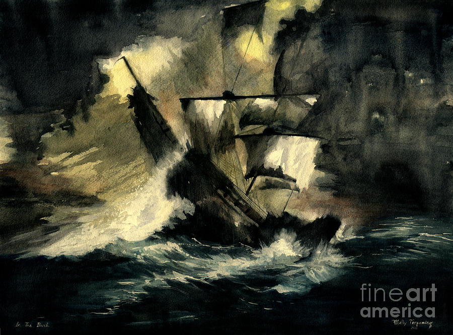 Pirates Ships Painting - In The Dark by Melly Terpening