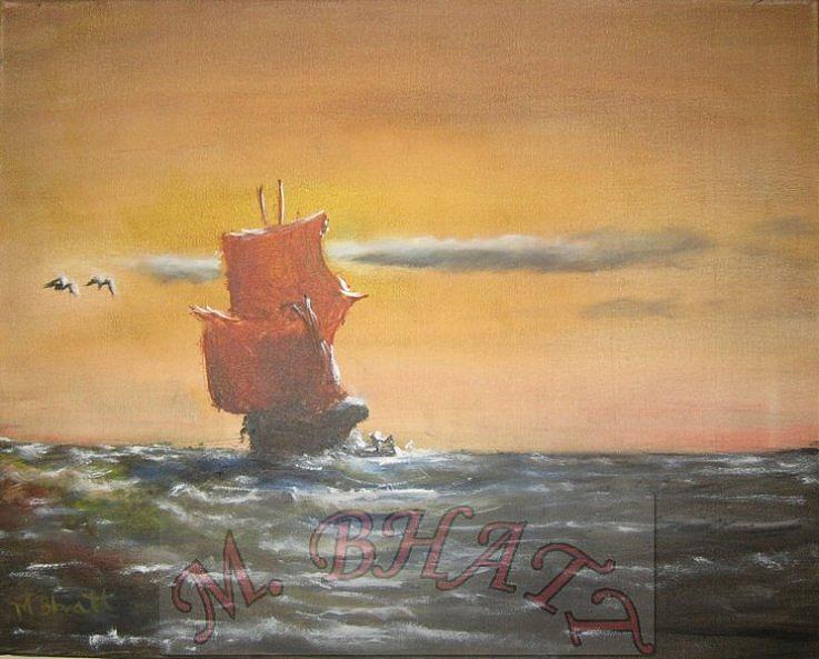 Ocean Painting - In The Deep Ocean by M Bhatt
