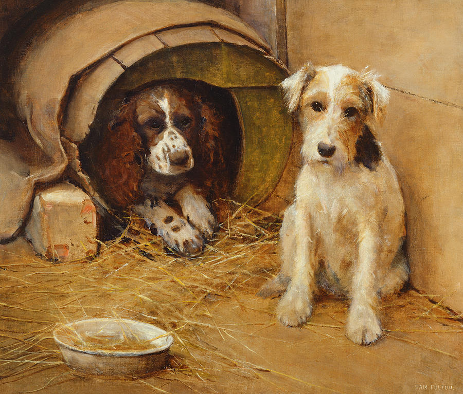 Dog Painting - In The Dog House by Samuel Fulton