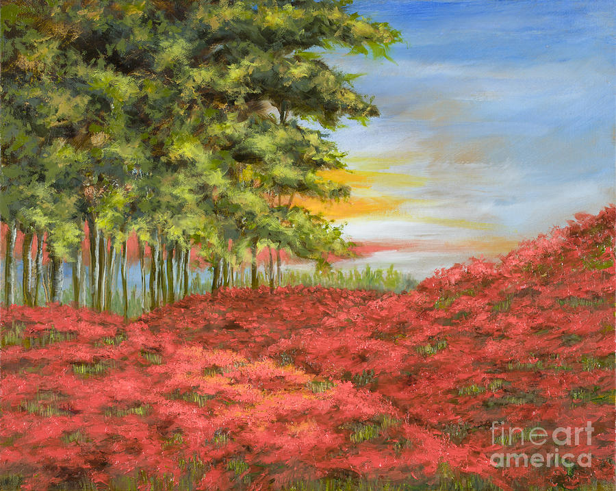 Poppy Painting - In The Field Of Poppies by Vic  Mastis