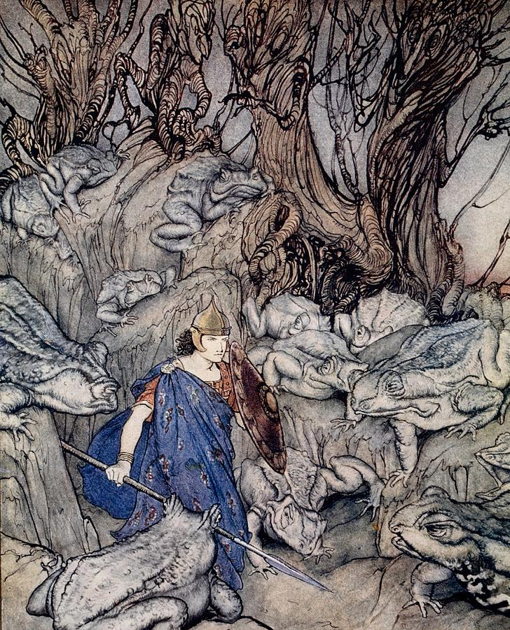 Fairy Tale; Fairy Story; Magic; Frogs; Toad; Frog; Forest; Woods; Spear; Armor; Helmet; Prince; Shield; Irish Mythology; Male; Bravery; Courage; Myth; Legend Drawing - In The Forked Glen Into Which He Slipped At Night-fall He Was Surrounded By Giant Toads by Arthur Rackham