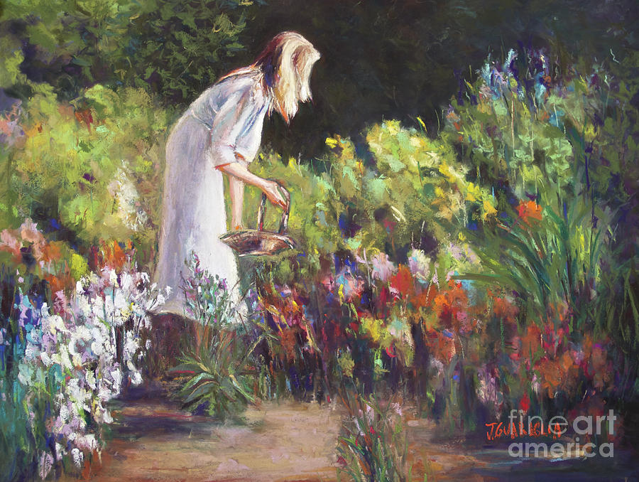 Summer Garden Pastel - In The Gardem by Joyce A Guariglia