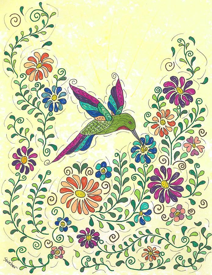 Bird Painting - In The Garden - Hummer by Susie WEBER