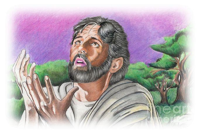 Jesus Drawing - In The Garden by Bill Richards
