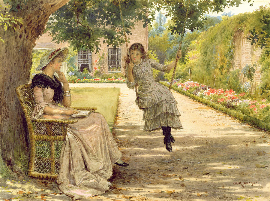 In The Garden Painting By George Goodwin Kilburne