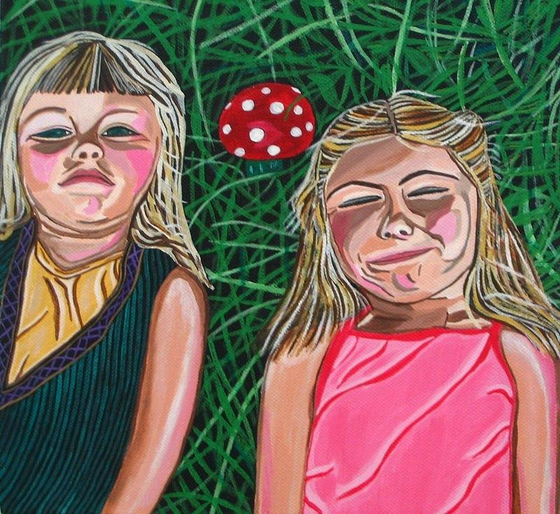 Portraits Of Children Painting - In The Garden by Sandra Marie Adams