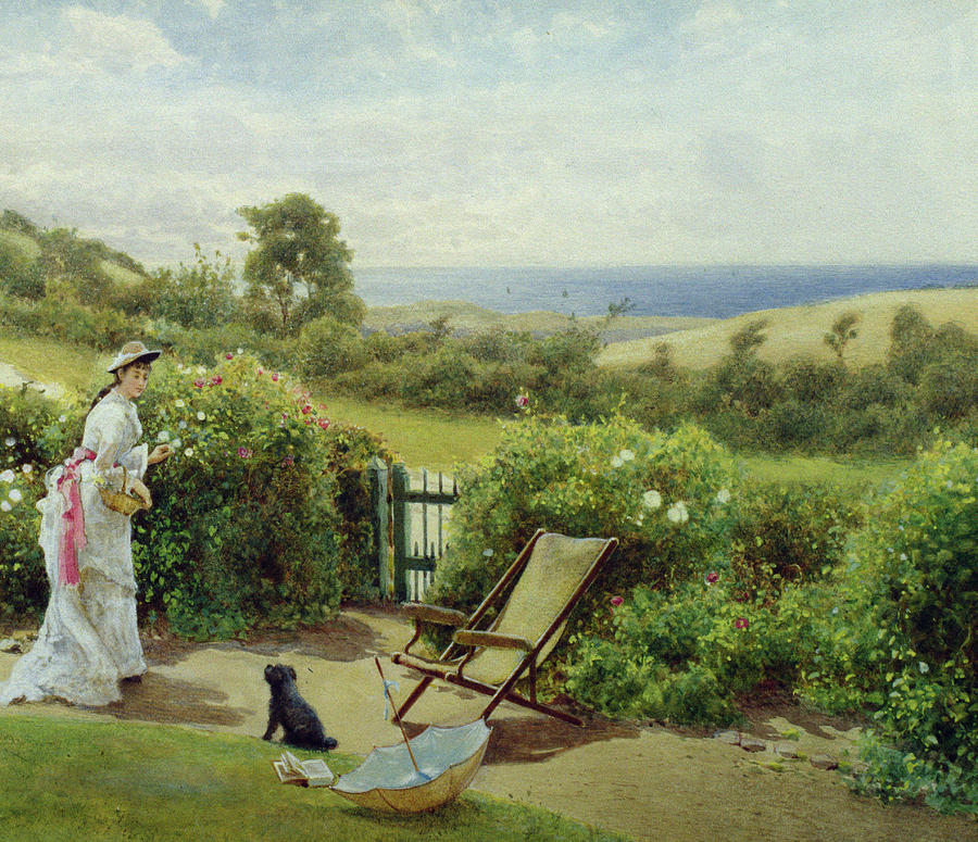 In The Garden Painting - In The Garden by Thomas James Lloyd