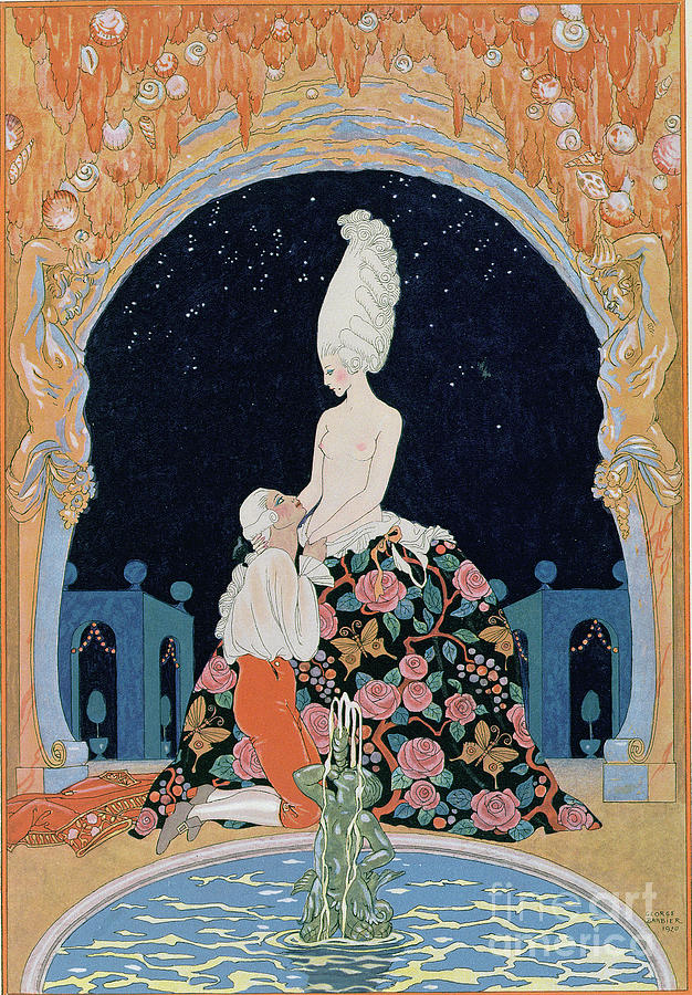 Male Painting - In The Grotto by Georges Barbier