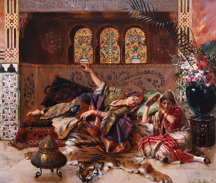 Women Painting - In The Harem by Rudolphe Ernst