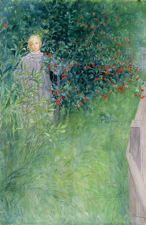 Girl Drawing - In The Hawthorn Hedge by Carl Larsson