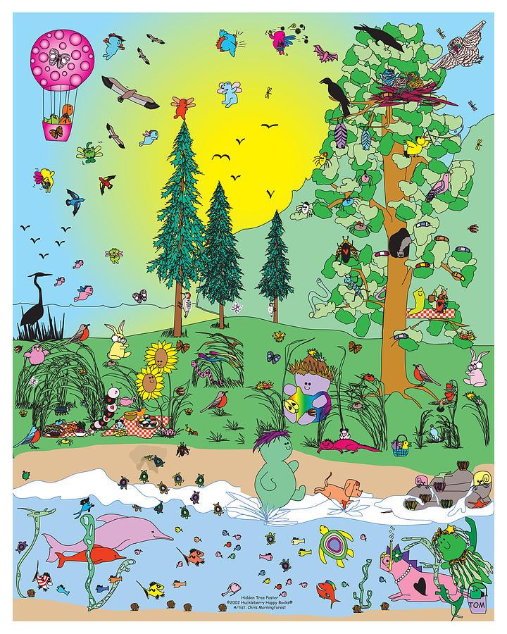 Happy Digital Art - In The Hidden Tree by Chris Morningforest