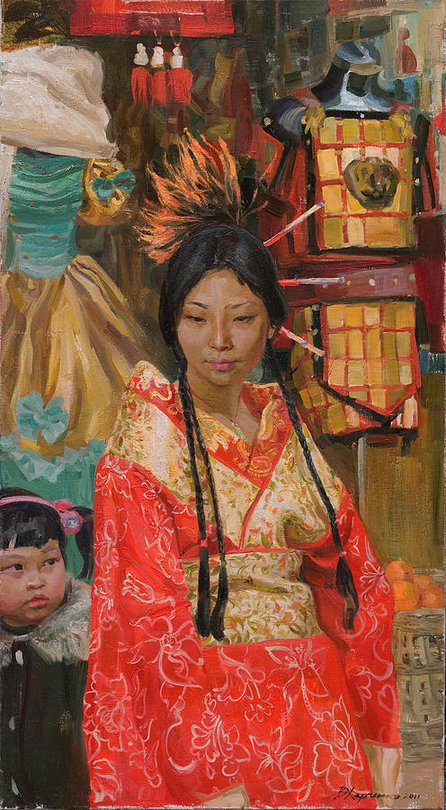 China Painting - In The Image Of Last Time by Victoria Kharchenko