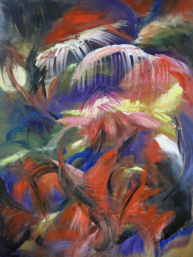 Abstract Of Plant Shapes And Likenessof Sun Painting - In The Jungle by Roberta Rotunda