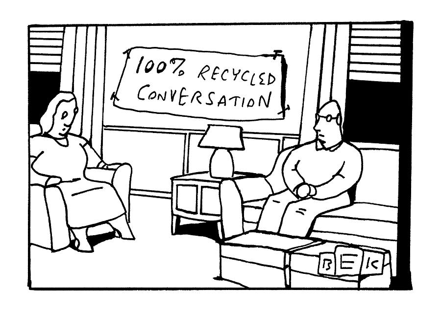 In The Living Room Of A Bored-looking Married Drawing by Bruce Eric Kaplan