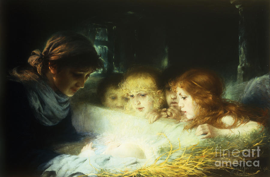Manger Painting - In The Manger by Hugo Havenith