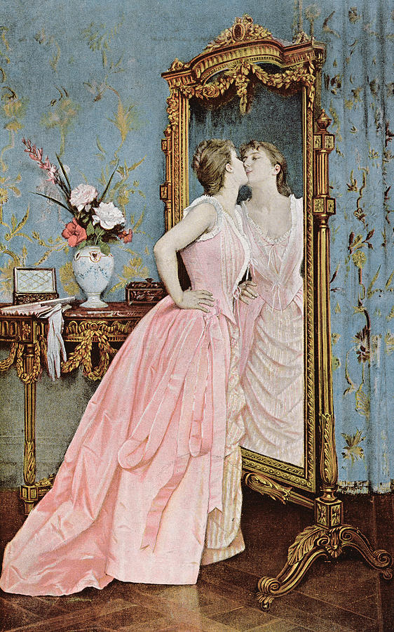 In The Mirror Painting By Auguste Toulmouche