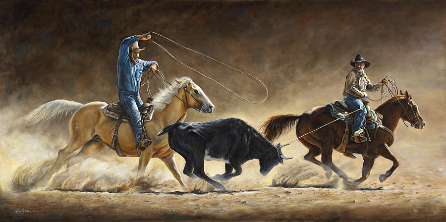 Cowboy Painting - In The Money by Kim Lockman