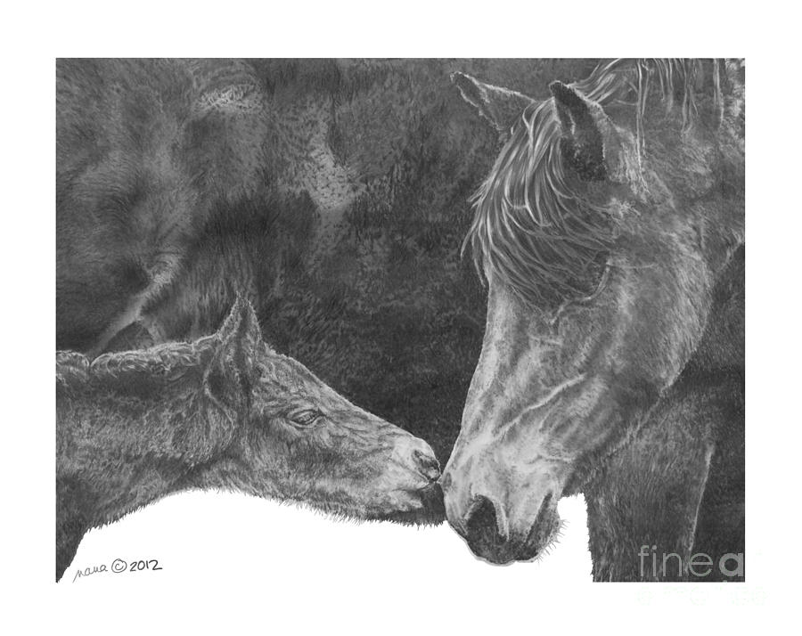 Horse Drawing - in the name of Love by Marianne NANA Betts