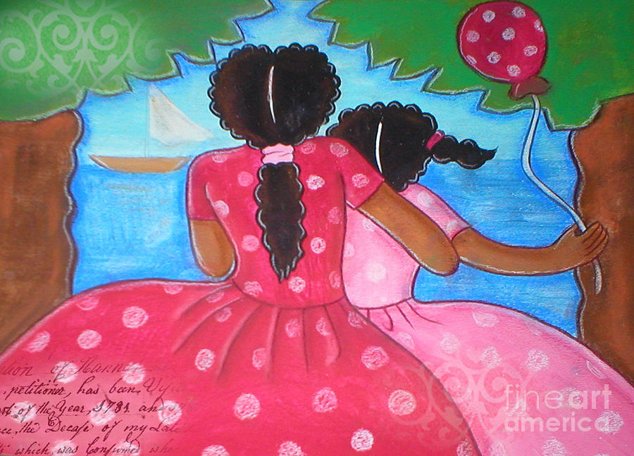 Woman Mixed Media - in the park by the sea by Elaine Jackson by Elaine Jackson