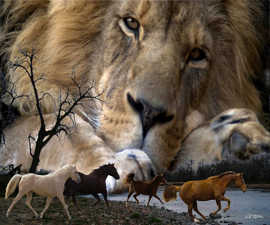 Lions Digital Art - In The Presence Of Elohim by Bill Stephens