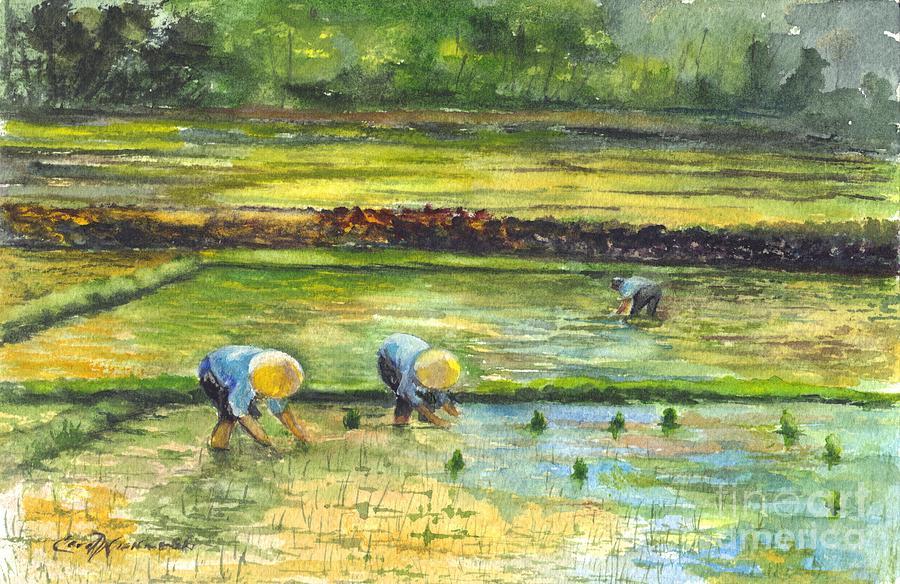 In The Rice Field Painting By Carol Wisniewski