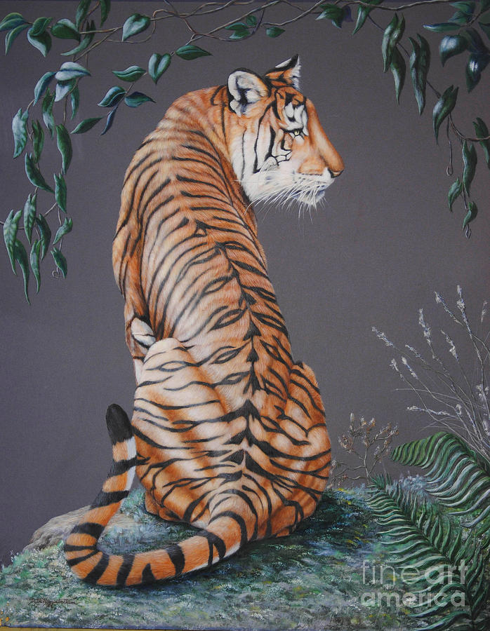Tiger Painting - In The Stillness Of The Night by DiDi Higginbotham