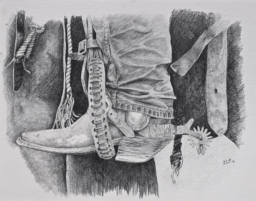 Pencil drawing in the stirrup by steve cost