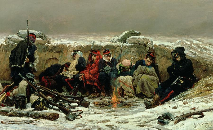 In The Trenches Painting - In The Trenches by Alphonse Marie de Neuville