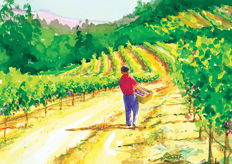 Vineyard Painting - In The Vineyard by Ray Cole