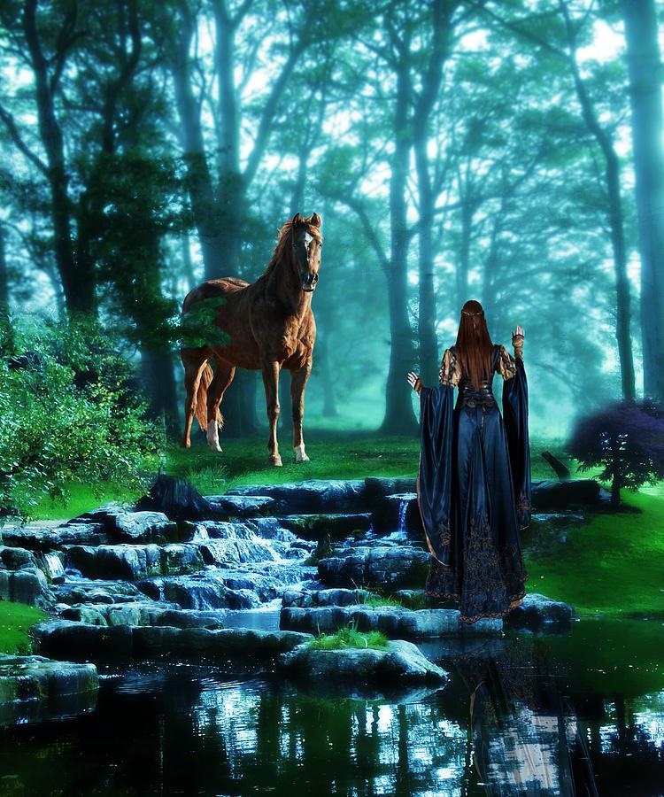 Digital Art Digital Art - In The Woods by Davandra Cribbie