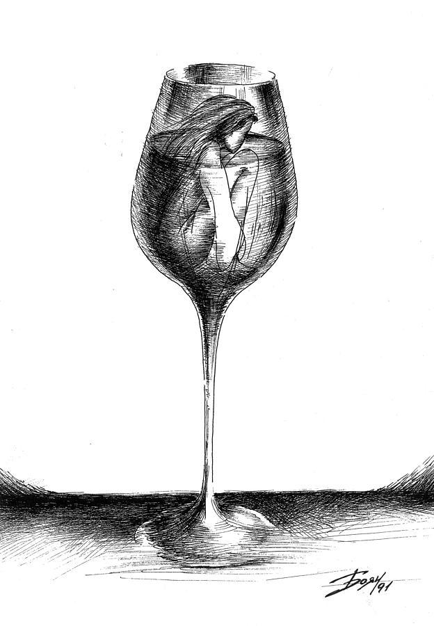 Wine Drawing - In Vino Veritas by Boyan Donev