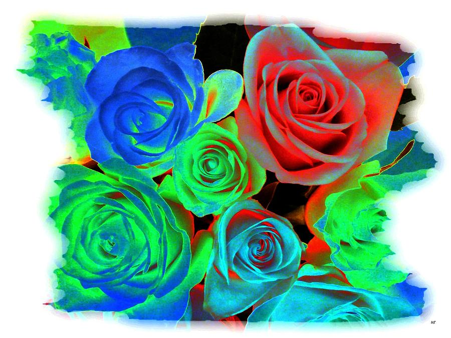 Abstract Digital Art - Incandescent Roses by Will Borden