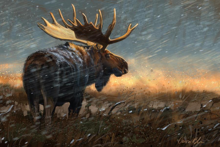 Moose Digital Art - Incoming Storm by Aaron Blaise