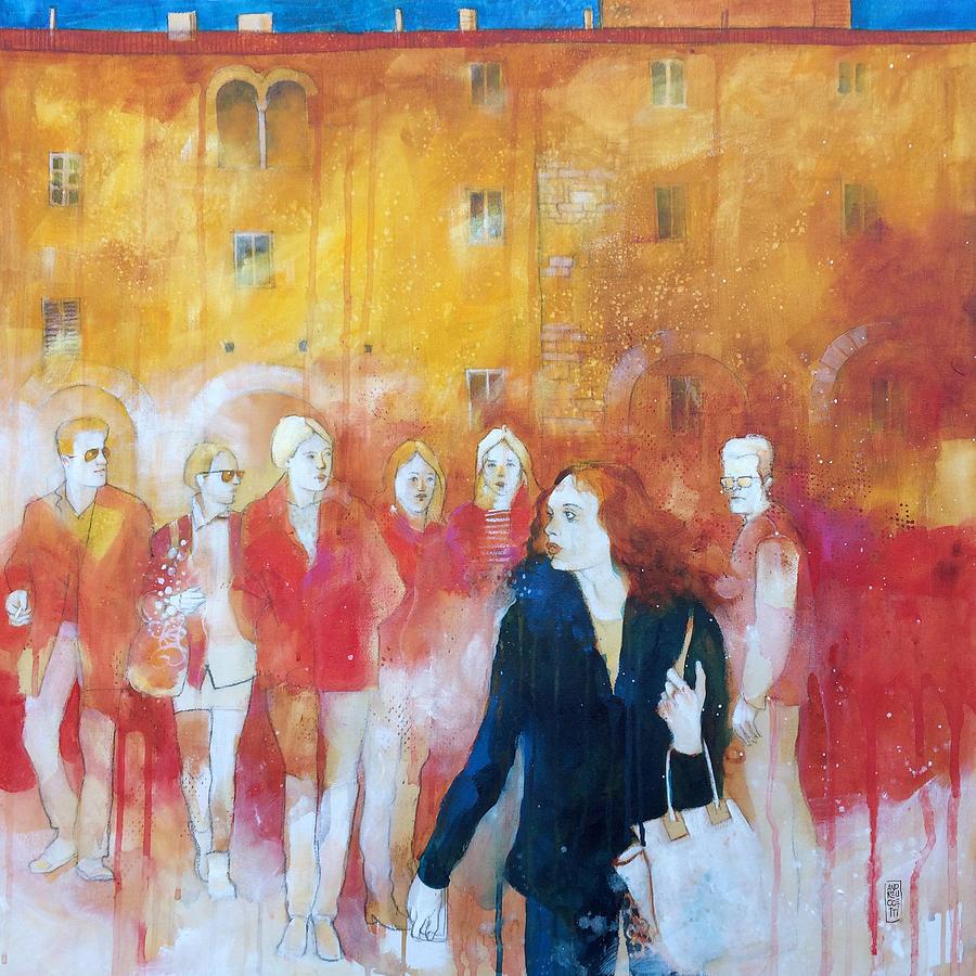 Wall Painting - Incontri casuali nella piazza by Alessandro Andreuccetti