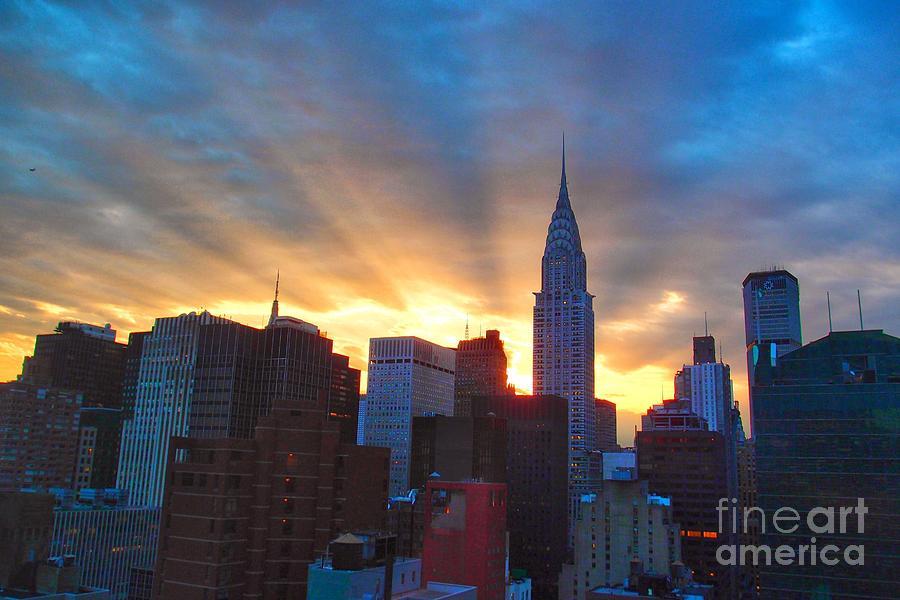 New York City Skyline Photograph - Incredible New York Skyline Sunset by Miriam Danar