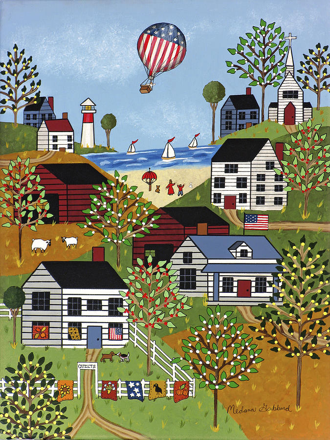 Folk Art Print Painting - Independence Day by Medana Gabbard
