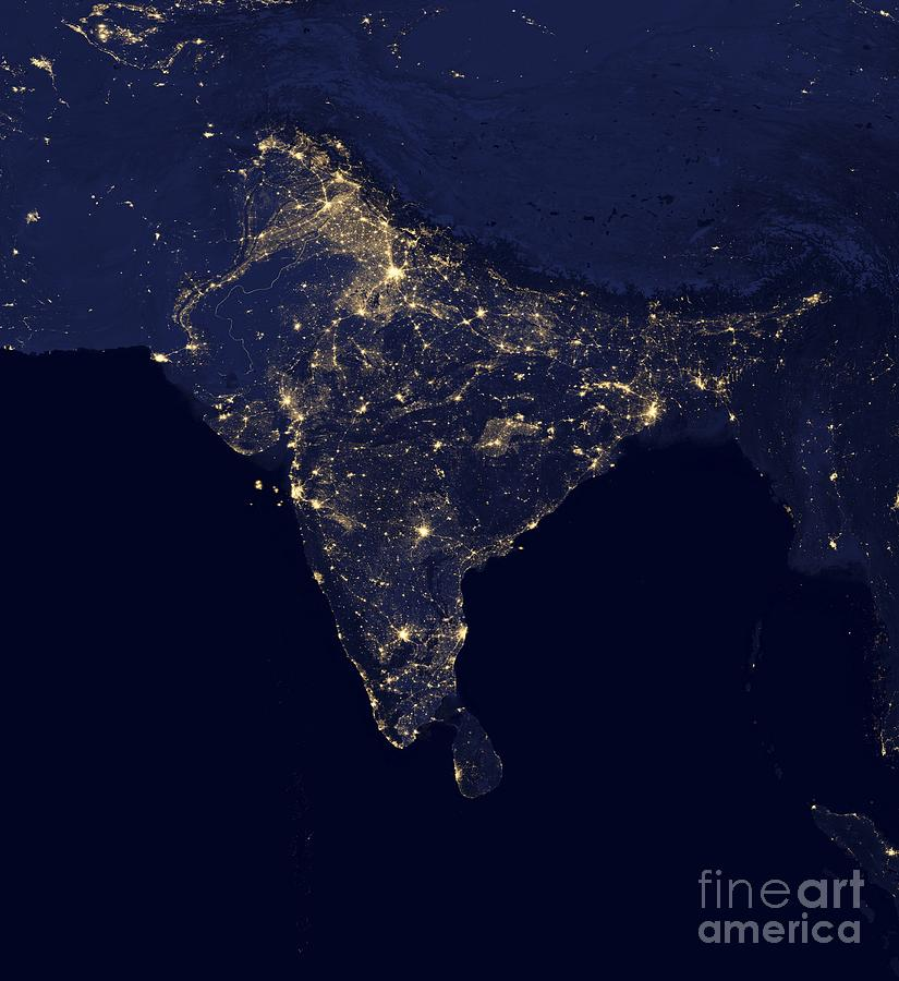 Earth Photograph - India At Night Satellite Image by Nasa