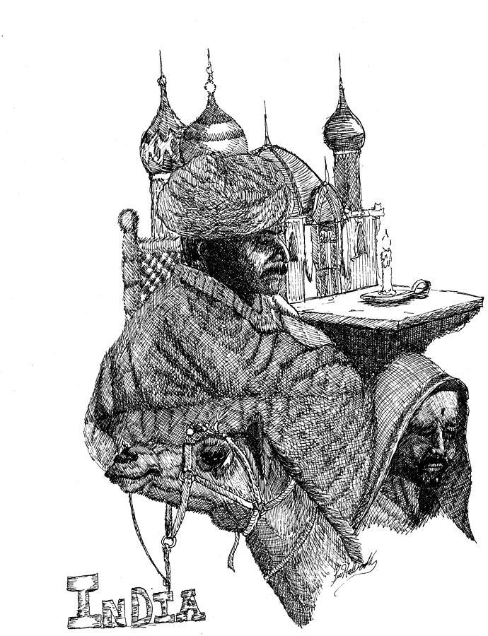 Ink Drawing - India by Lee Halbrook