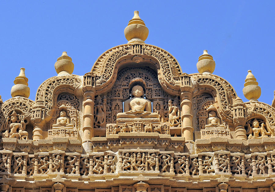 India, Rajasthan, Bas-relief On The Frontage Of A Jain Temple In Jaisalmer Photograph by Daniele SCHNEIDER