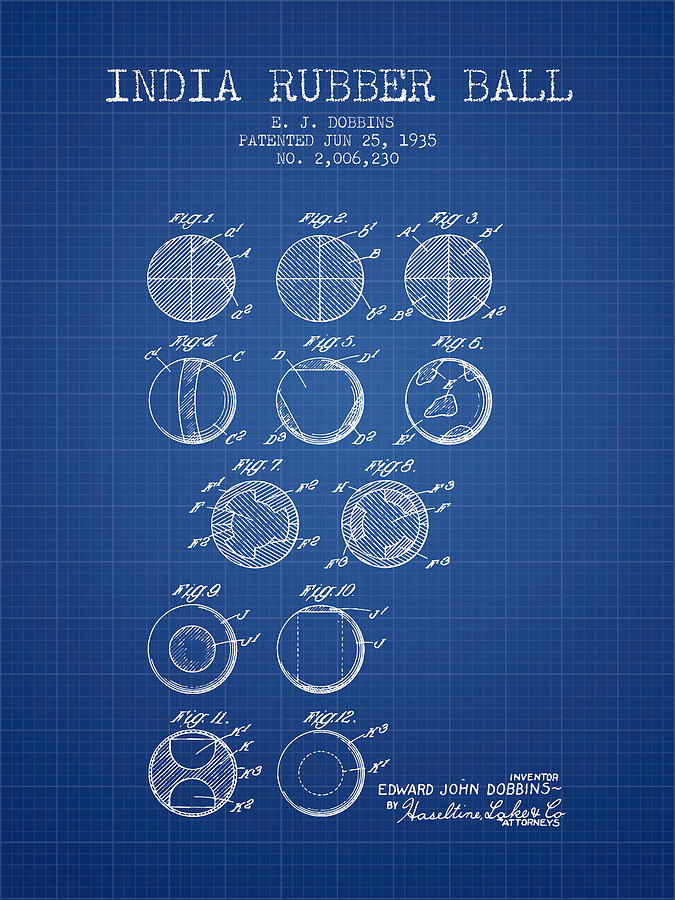 Lacrosse Digital Art - India Rubber Ball Patent From 1935 -  Blueprint by Aged Pixel