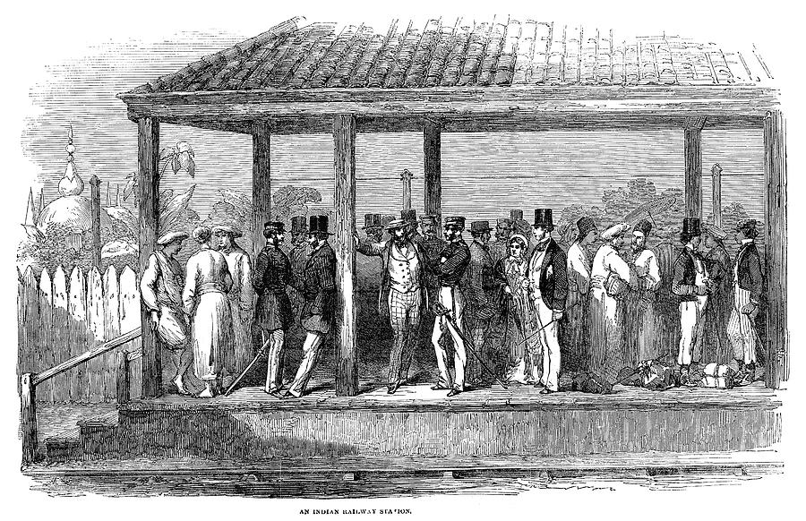 1854 Painting - India Train Station, 1854 by Granger